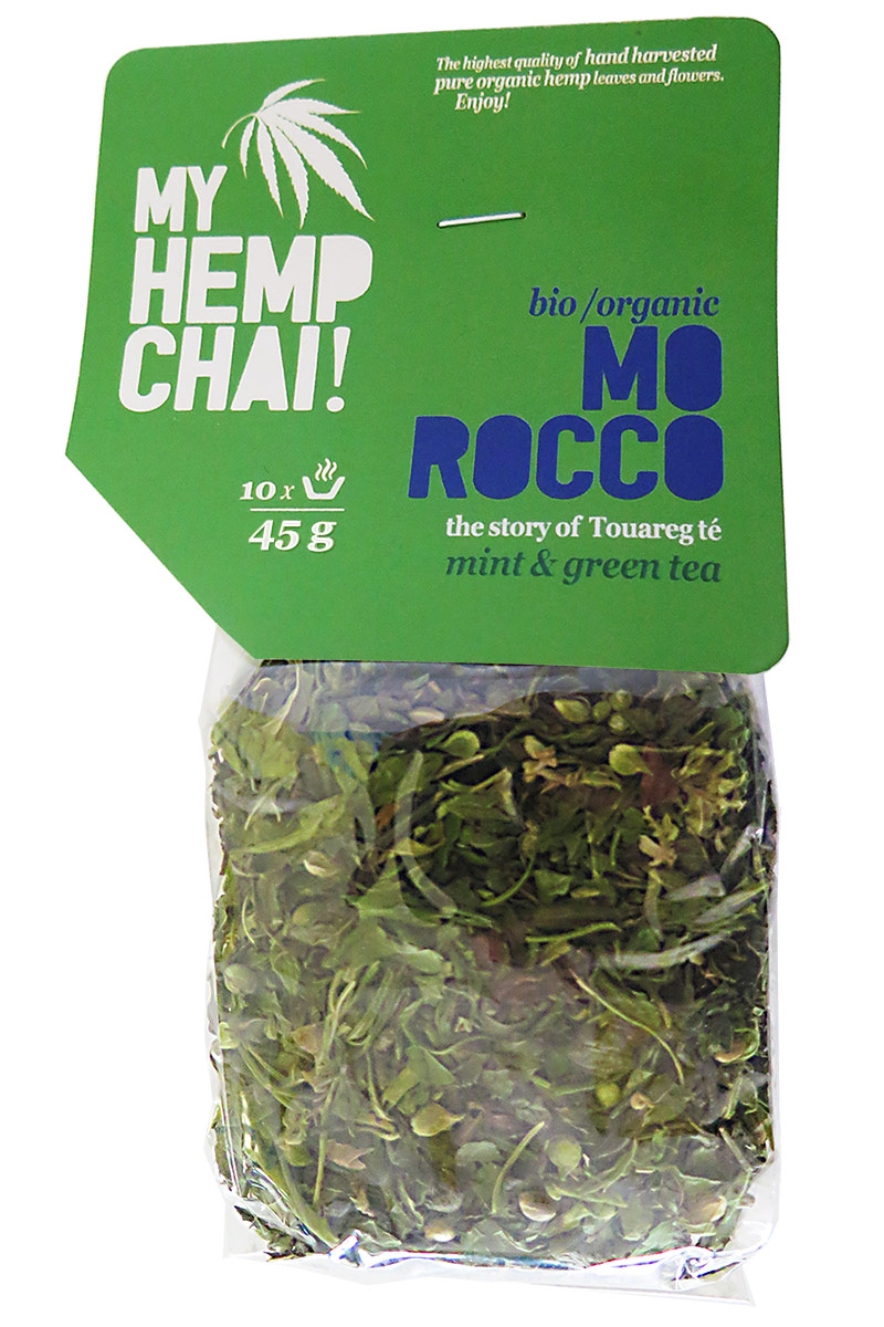 MY HEMP CHAI! bio/organic MO ROCCO hemp herbal tea blend / konopný čaj a la Tuarég so zeleným čajom a mätou